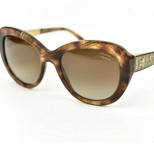 Chanel 5346 Cat Eye Brown Bijou Butterfly Sunglass